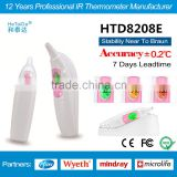 2016 HTD8208E Clinical Infrared Ear Thermometer NO.1 Portble Accurate Thermometer Medical Bluetooth 3-color backlit Thermometre