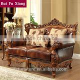 Rubber solidwood living room leather sofa set for American archaize furniture N-221