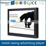 FlintStone 15 inch ad video display with IR body sensor, digital advertising equipment, industrial flat panel screen