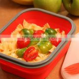 2014 popular selling silicone portable collapsible lunch box for kids go to school/for camping/ for travel
