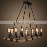 China supply decorative colorful arts bar club modern g4 g9 led hemp rope hanging chandelier pendant lamp lights