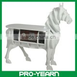 Wooden Horse Head Table Storage Cabinet with Legs and Demountable Design for Speaker and Voice Box