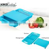 Kitchen sink plastic cutting board with drain basket and storage tank 3 in 1 chopping board