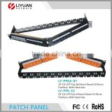 LY-PP6A-07 CAT6A UTP 24 PORT NETWORK Angle PATCH PANEL 110 WITH SURFACE WALL MOUNT BRACKET TOOLLESS, WITH BLACK BAR