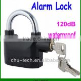 Black Anti-Theft Alarm Lock Security System for Door Motor Bike Bicycle Padlock 120dB