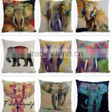 Factory Selling Animal Elephant Design Sofa Seat Pillow Case for Home Decoration custom print pillow cover