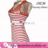 Newest Design Wholesale 100% Cotton Tank Top Colorful Stripes Women Sexy Camisole 2016 Crop Top