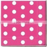 Wholesale Pink White POLKA DOT Birthday Party 33cm Disposable 3ply Paper Napkins- 12 Colours available