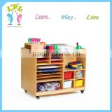 Wholesale high quality double-side kindergarten furniture storage unit wood storage cabinet for kids