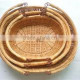 Chinese willow made basket sets for flower or food storage