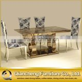 Luxury rose gold marble dining table set restaurant furniture