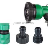 garden hose nozzle set 5pcs with multifunctional spray nozzle and plastic quick connector