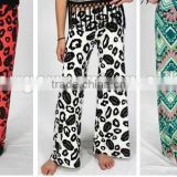 plus size adult/child wide legs yoga long pants, wholesale kids palazzo pants , unique print palazzo pants