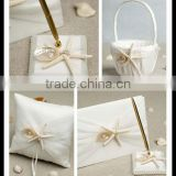 Unique Wedding set decoration with starfish /Wholesale wedding guest book and pen set/ ring Pillow