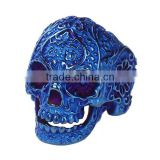 Hot Selling Blue Skull Titanium Steel Punk Unadjustable Rings