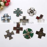 High quality Iron Christian Cross Medal Metal Car Auto Emblem Sticker Badge Brass Chrome