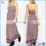 2016 hot sale maternity printed bandeau maxi summer dresses for women, long ladies western dress designs pregnant bohemain dress