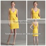 Beautiful Satin Princess Knee-length V-neck Straps Yellow Gold Bridesmaid Dresses