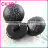 High end black mushroom shape plastic coat button with crack designs