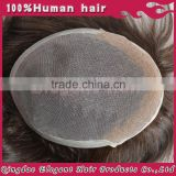 Elegant hair wholesale genuine indian human hair hand tied swiss lace with pu back and side toupee for men