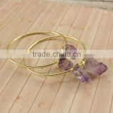 BRH1517 Gold Plated Double Amethyst Spike Stone Cuff Bangle Bracelet,Gold Bangle with double amethyst natural crystal stone                                                                         Quality Choice