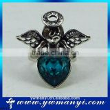 Fashion crystal angel blue heart shaped ring designs for girl R0111