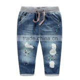 OEM boy casual fashion denim ripped elastic waistband kids embroidered jeans