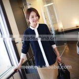 2015 fashion Women's long sleeve blouse women plain shirt model