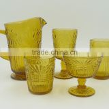 press drinkware/Wine goblet,Hiball,DOF, sundae cup,pitcher color glass in Amber with float grass embossed patern