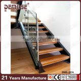 Indoor Loft Ladder Folding Stairs With Acacia Wood Treads And Wood Handrail