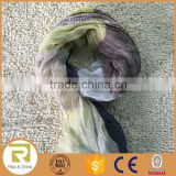Wholesale 100% Linen yarn dyed fringed shawl scarf