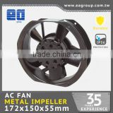 Taiwan UL CE TUV ROHS Certified AC Metal Impeller AC Cooling Fan with AC Brushless Fan Motor in 172x150x38.5mm