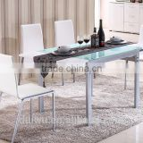 Foshan shunde silver iron frame dining table black 10mm tempered glass
