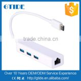 Aluminium Female RJ45 Lan to USB 3.1 Type C Male Gigabit Ethernet Network Adapter and 3 ports USB 3.0 Hub for Macbook