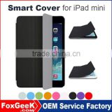 Wholesale Super Fiber Skin Smart Case for iPad, Triple Fold Stand Tablet Smart Cover Case for Apple iPad mini 2,3,4