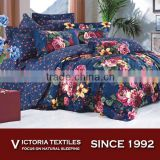 romantic pink flower duvet quilt cover silk feel bedding sets 4PCS