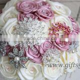 Elegant Bridal Bouquet Wedding Bouquet made by Satin Roses Brooches Handmade Vintage Inspired Alternative