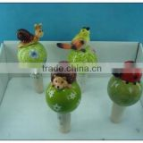 Garden decoration pottery animals plant watering spike/sprinkler