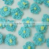 small blue crochet flower applique /wholesale crochet flower appliques for baby clothes