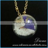 New Real Dried Flower Glass Ball Pendant glass dome pendant necklace