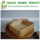 Natural bamboo wicker Bread baskets Storage Hamper Display Tray