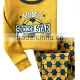 high quality boys yellow football emboridery full sleeve cotton pajamas sets kids sleepwears