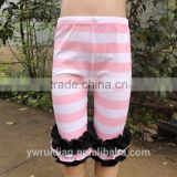 Low MOQ pink stripe ruffle shorts baby capri chinese style clothes toddler baby ruffle capri