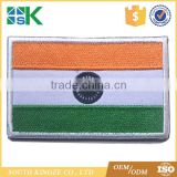 Custom design Bulk T-Shirt iron-on Backed Country Flag Cheap Woven india flag sticker patch