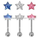 316l surgical steel star cz stone Tongue Barbell anodized industrial body piercing jewelry, fashion tongue barbell,tongue rings