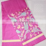 Women's Designer Pink Casual Wear Animal printed Cotton Khadi Silk Sari Bridal Saree Party Wear Dress