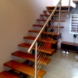Hot selling oak wood straight stairs with glass railing indoor design