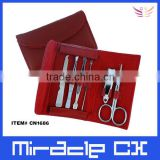 Red PVC pouch carbon steel manicure set in a purse                                                                         Quality Choice