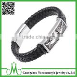 Halloween Punk Skull Wings Genuine Leather Bracelet Unisex Stainless Steel Clasp Cuff Bangle