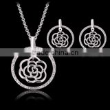 imitation brand rose silver filled necklace jewelry sets